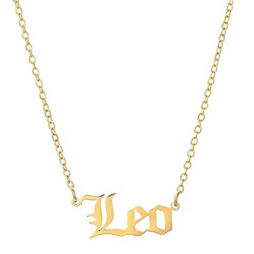 Fnho Cadena Colgante de Cristal Inicial S925,Collar de Cadena para San Valentín,Collar con Letras de constelación, Colgante de Personalidad Retro-Gold_Leo