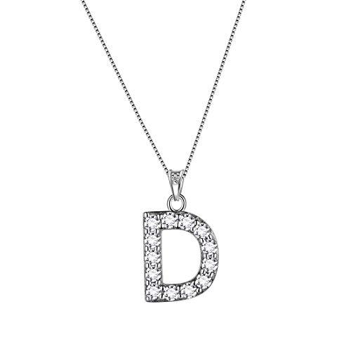 AuroraTears Buchstabe D Halsketten 925 Sterling Silber Initiale D Alphabet Anhänger mit Zirkonia Schmuck für Frauen und Männer DP0261D