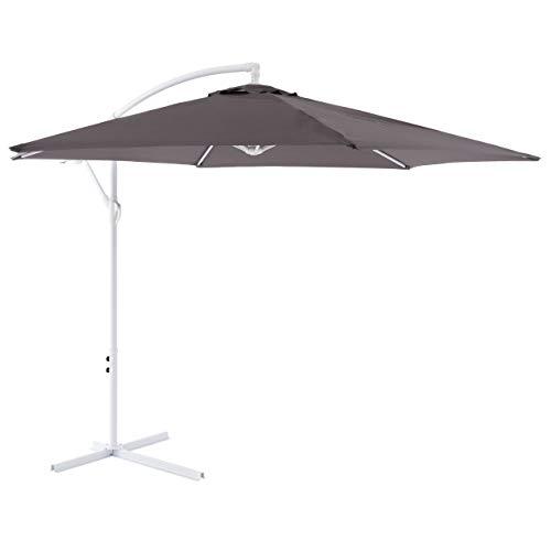 Nexos Sonnenschirm hängend Ø 2,9m Stahl 6 Rippen Gestell UV Schutz Ampelschirm Gartenschirm Marktschirm mit Kurbel Schirmstoff anthrazit wasserabweisend