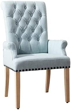 Best Linen Fabric Accent Chairs,Upholstered Kitchen Dining Room Chairs Set(Blue)