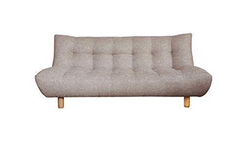 Sofá de 3plazas Maya, convertible a cama–Sistema fácil clic clac–Mullido y confortable, Greige, canapé BERLIN