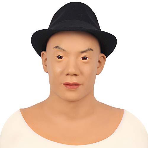 SISHUINIANHUA Asiatische männliche Jugend Silikon realistische männliche Kopf Crossdresser Maske handgemachte Make-up Transgender Maske Maske 3G,Braun