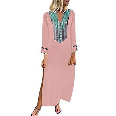 HebeTop Women's Long Sleeve Loose Plain Maxi Dresses Casual Long Dresses