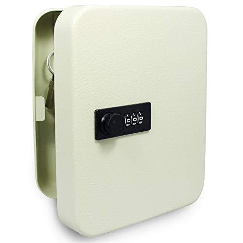 SAFE Schlüsselkasten abschließbar - inkl. 20 Schlüsselanhänger - Schlüsseltresor mit Zahlencode aussen - 3 stelliger Zahlencode - mit 20 Haken - inklusive Dübel zum aufhängen - Maße 200 x 160 x 70 mm