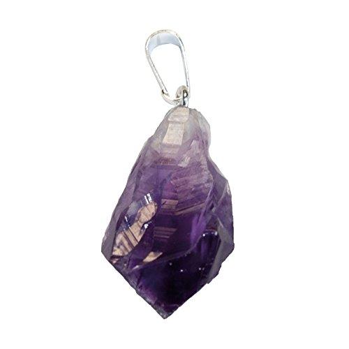 Mysale24 Amethystkristall | Anhänger mit Stiftöse und Lederband | Chakra | Heilstein | aus Brasilien