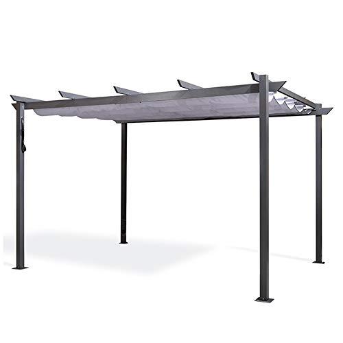 DZWJ Pérgola de Aluminio para jardín, cenador con toldo de Techo retráctil para Carpa de pabellón de Patio al Aire Libre 3X4M