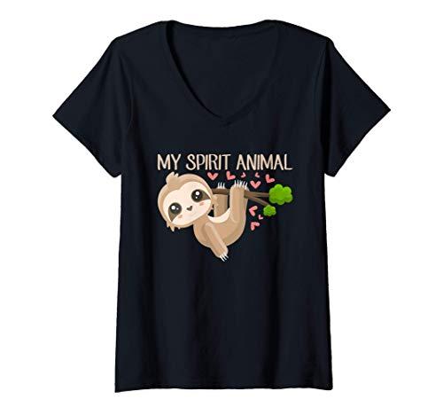 Mujer Divertido bebé perezoso colgando Sloth Is My Spirit Animal Camiseta Cuello V