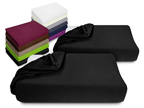 npluseins 2er Pack Spannbezüge Kissenbezüge für Gesundheitskissen 1450.2049, Spannbezug für Gesundheitskissen, schwarz
