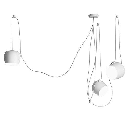 GaLon Moderne hanglamp hanglamp credits kroonluchter hanglamp metalen ijzer lampenkap hanglamp woon verstelbare eetkamer kroonluchter studie 3 pits bal lamp [A ++] (Color : White)