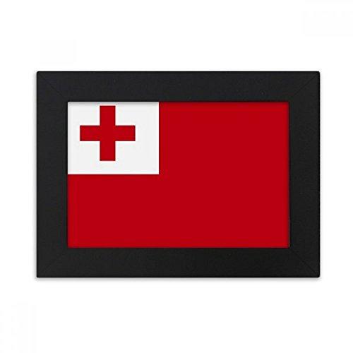 DIYthinker Tonga National Flagge Ozeanien Land Desktop-Bilderrahmen Schwarz Bild-Kunst-Malerei Passt 10.2 x 15.2cm (4 x 6 Zoll) Bild Mehrfarbig
