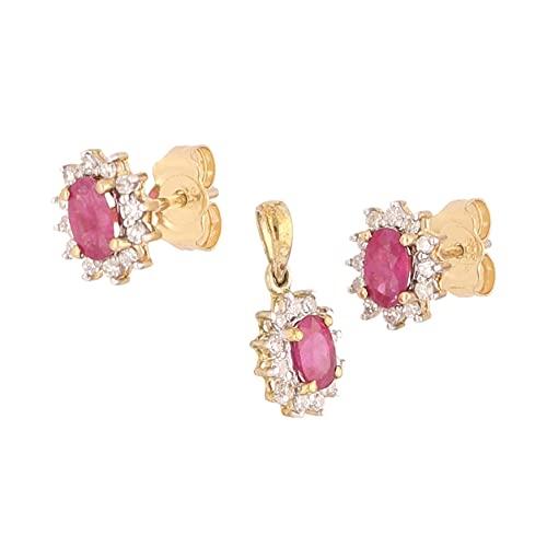 Jollys Jewellers Conjunto de pendientes y pendientes de oro amarillo de 9 quilates con rubí ovalado y halo de diamantes para mujer