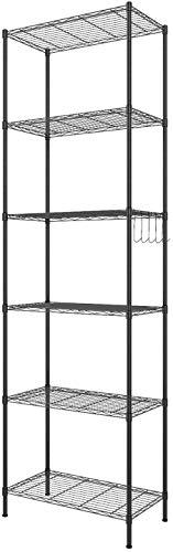 Himimi Standregale 6 Ablage Küchenregal Metallregal mit Seitenhaken aus verchromt 54 x 29 x 160cm, Schwarz