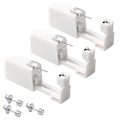 Disposable Ear Piercing with Ear Studs, Piercing Gun Tool Set Asepsis Pierce Kit with Ear Studs for Women Men Girl Ear Piercing Earrings - 3pcs