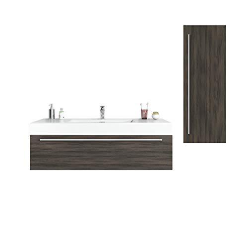 Badezimmer Badmöbel Garcia 120 cm Eiche dunkel - Unterschrank Hochschrank Waschbecken Waschtisch