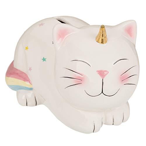 PhiLuMo Keramik Spardose/Sparbüchse - Einhornkatze Luna - abschließbar 17 x 12 cm