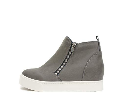 SODA Taylor Hidden Wedge Sole Booties Ankle Heels Sneaker Shoes Side Zipper (8.5, Grey)