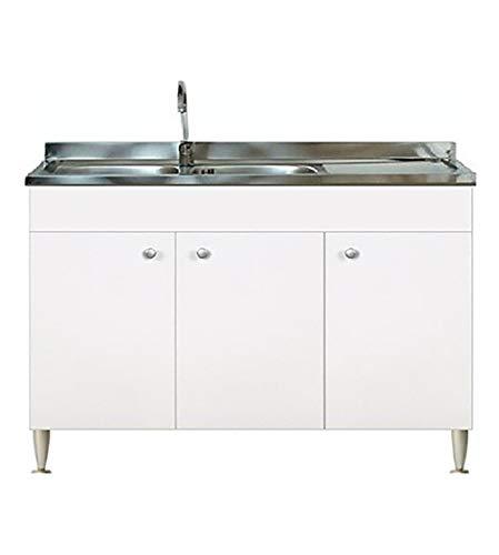Mueble para cocina de 120 x 50 x 85 cm, color blanco, mueble modular de 3 puertas