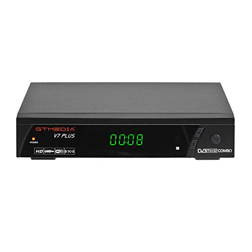 GT MEDIA V7 PLUS Decoder Satellitare TV Sat DVB-S2 e Decoder Digitale Terrestre DVB-T2 combo Ricevitore con Antenna WiFi H.265 8bit MPEG-2/4 1080P Full HD USB PVR Ready