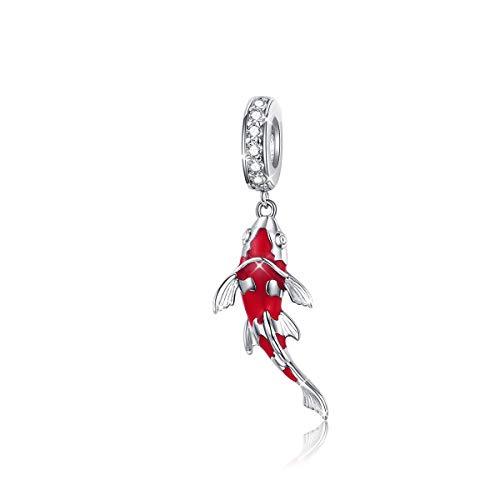 Charm a forma di pesce, in argento sterling 925, smaltato rosso, compatibile con braccialetti con charm Pandora