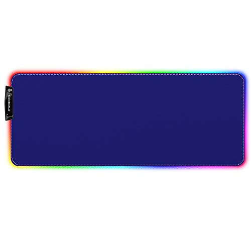 MoKo RGB Gaming Mouse Pad, Large Extended Glowing Led Mousepad with 15 Lighting Modes and USB 2.0 Port, Non-Slip Rubber Base Computer Keyboard Pad Mat for Gamer, 32.09 x 12 x 0.16 Inch - Blue