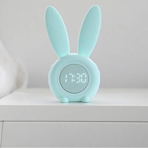 FPRW Digitale wekker met temperatuurweergave, trainer voor snoozing, nachtkastje voor kinderen, multifunctioneel in konijnvorm, groen