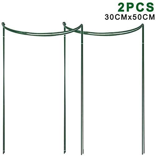 gongxi 2 Pcs Jardin Border Plant Support, Flower Plant Support Stakes Semi Circular Metal Frame Professional for Garden Bow Plant Supports for Pivonies, Hortensea