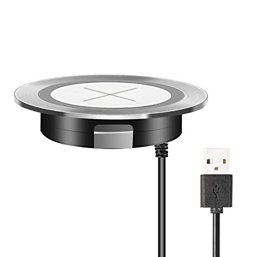 Desk Wireless Charger, Headphone Wireless Charging,Desktop Grommet Power Wireless Charging Pad Compatible with iPhone11 Pro Max/XR/ 8 Plus (Silver)