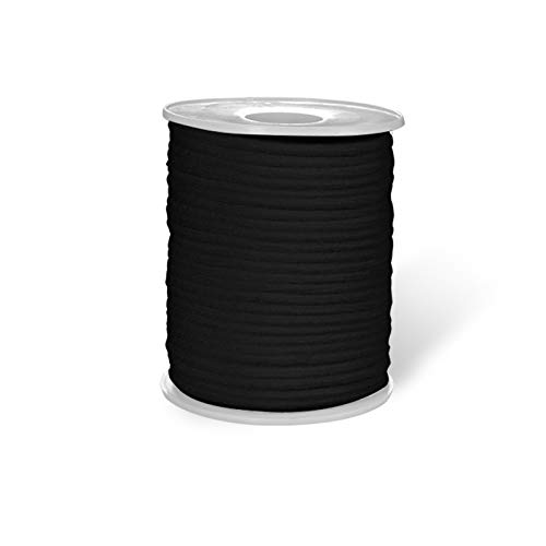 ISSUNTEX Black 50-Yards Length 1/8 inch 3mm Round Elastic Band,Elastic Rope,Braided Stretch Strap Cord Roll for Sewing and Crafting