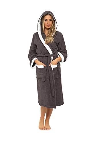 CityComfort Bademantel Damen, Morgenmantel Damen mit Kapuze, Lang Bademantel Damen Baumwolle für Spa Sauna oder Bade, Damen Geschenke (M, Holzkohle/Weiss)