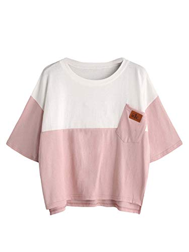SweatyRocks Women's Color Block Half Sleeve High Low Casual Loose T-Shirt Tops Pink White Medium