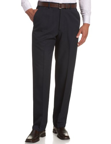 Haggar Men's Cool 18 Hidden Expandable-Waist Plain-Front Pant Navy 44x30