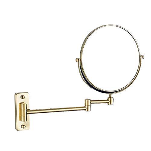 Bath Miroirs de Maquillage Double Face Beauty Mirror, Miroirs de Salle de Bains à loupe Murale, 3X Bronze huilé,Gold_8inch