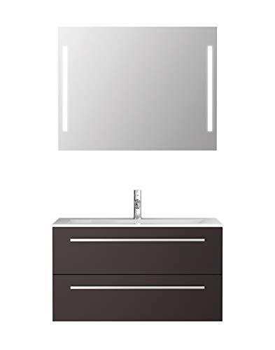 Badmeubelset Libato - 60 90 120 cm breed - wit of antraciet hoogglans - badkamermeubels dubbele wastafel met onderkast spiegel met verlichting Sieper Jokey modern 90 antraciet