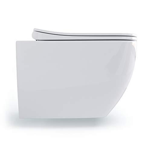 Spülrandloses modernes Wand Hänge WC Spülrandlos Toilette softclose WC-Sitz mit Absenkautomatik aus Duroplast KB10