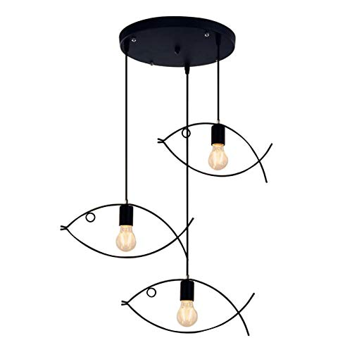 LIUDADA Lámpara colgante negra industrial creativa lámpara de techo para salón, retro, de hierro, con 3 cabezales redondos para comedor, dormitorio, comedor, 40 × 25,5 cm