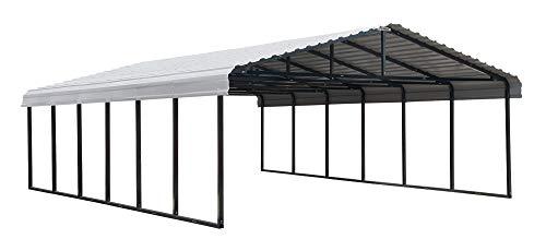 Arrow 20' x 29' 29-Gauge Metal Carport with Steel Roof Panels, 20' x 29', Eggshell