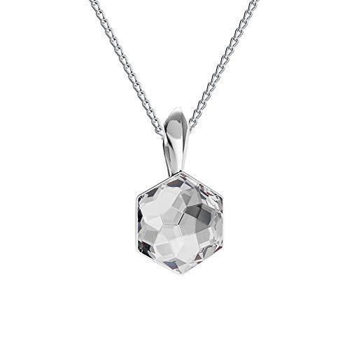 Beforia Paris* Collana – Hexagon – Argento 925 – molti colori – con catena in argento 925 con ciondolo Swarovski Elements, collana regalo con custodia PIN/75 e Argento, colore: cristallo, cod. 7