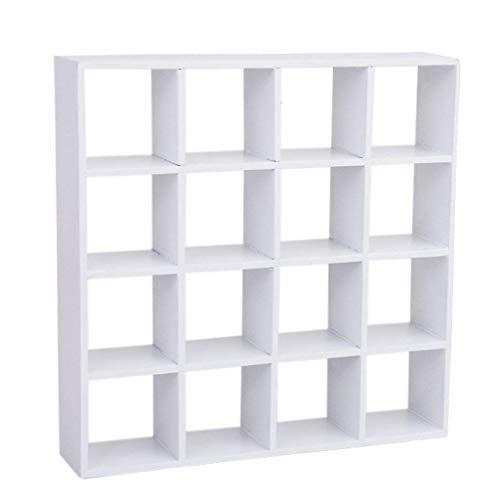 Ogquaton 16,5x3,5 cm 1/12 Puppenhaus Miniatur 4 Schicht 16 Gitter Holz Wohnzimmer Display Stand weiß Mini 4-Schicht Holz Display Regal für Wohnzimmer langlebig und nützlich