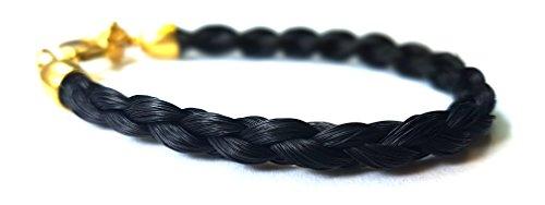 Pferdehaar Armband vergoldet mit schwarzem Haar für Pferdefreunde // Länge 17.5cm GLOWYBOX Schmuckmanufaktur im Schwabenland