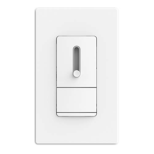 ELEGRP Slide Dimmer Switch for Dimmable LED, CFL and Incandescent Light Lamp Bulbs, Single Pole or 3-Way, Full Control with Preset, Rocker Paddle, Wall Plate Included, UL Listed (1 Pack, Matte White)