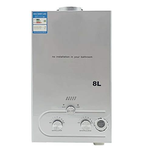 TABODD 8L Flüssiggas Warmwasserbereiter LPG 16KW 2.1GPM Wasserkocher Edelstahl Durchlauferhitzer mit Duschkopf