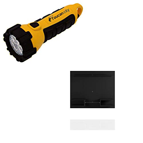 Toucan City LED Flashlight and Luxor Buffalo 64 in. Black Particle Board Floating Entertainment Center Fits TVs Up to 50 in. with Cable Management 224HD3