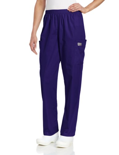 Scrub Zone Women's Standard Durable 2-Pocket Elastic Waist Classic Fit Cargo Scrub Pant, Grape, X-Small