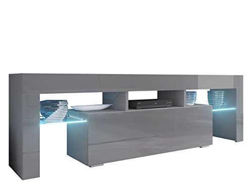 Mirjan24 TV Board Lowboard Toro 138, TV Lowboard mit Grifflose Öffnen, Unterschrank, Sideboard Mediaboard, Fernsehschrank, Mediaboard (ohne Beleuchtung, Grau/Grau Hochglanz)