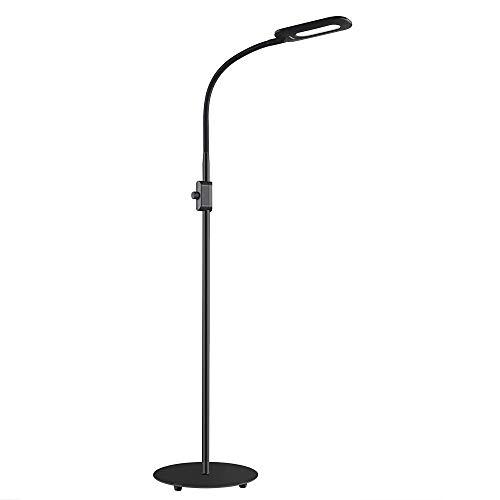 AUKEY Lámpara de Pie Regulable con Perilla de Control de Brillo y Cuello Flexible, Lámpara LED Cuidado de Ojos, Luz Blanca Natural para Salon y Dormitorio