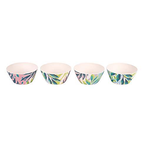 Cambridge CM06334 Reusable Dinnerware Bowls, 14 cm, Set of 4, Kayan Print   Dishwasher Safe   BPA Free   Alternative to Single Use Plastics, Bamboo Fiber Mix