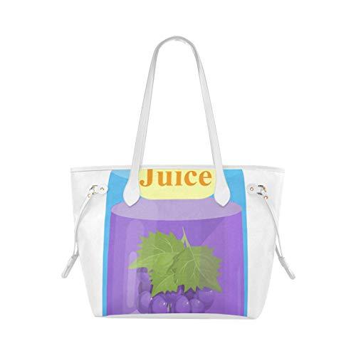 WHIOFE Umhängetasche Rucksack Lila Traube Sauer Saft Flasche Kompakte Einkaufstasche Mode Umhängetasche Große Kapazität Wasserdicht Mit Haltbarem Griff