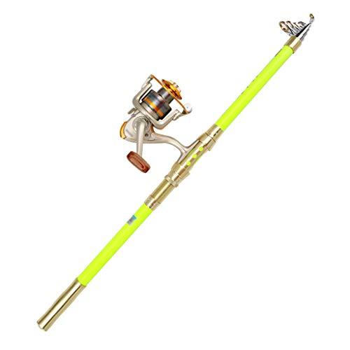 Barra para pesca Caña de pescar Carrete de Conjunto Super Hard carbono Polo Kit telescópica caña de pescar y carrete Spinning Kit combinado for adultos Viajes de agua salada de agua dulce cañas de pes