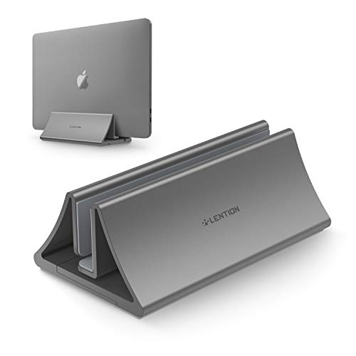 LENTION Aluminum Space-Saving Vertical Desktop Stand Compatible MacBook Air/Pro 13 15, MacBook 12, iPad Pro 12.9, Surface Book, Chromebook and 11 to 17-inch Laptops (Space Gray)