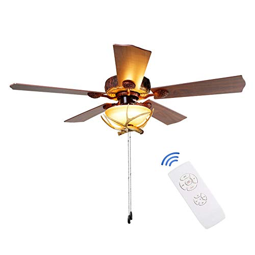 XINYECHENG Antlers Traditional Retro Ceiling Fan for Restaurant Living Room Premium Wood Leaf with Create Unique Lampshade Pull Chain/Remote Control Mute Chandelier of 52Inch